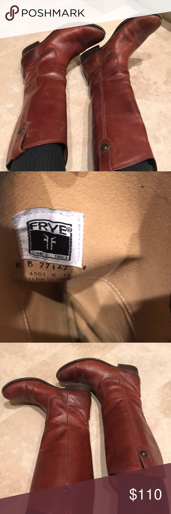 Good condition Frye saddle leather boots Gently used Frye saddle leather boots Frye Shoes Combat & Moto Boots