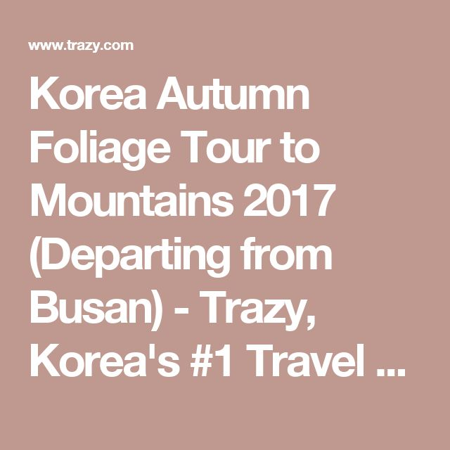 Korea Autumn Foliage Tour to Mountains 2017 (Departing from Busan) - Trazy, Korea's #1 Travel Guide