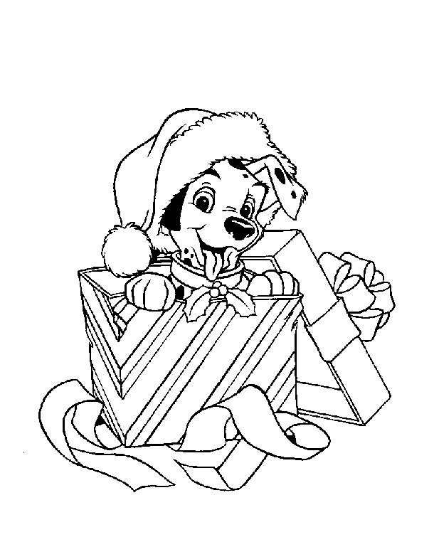 Dalmatian Puppy In A Gift Coloring Page