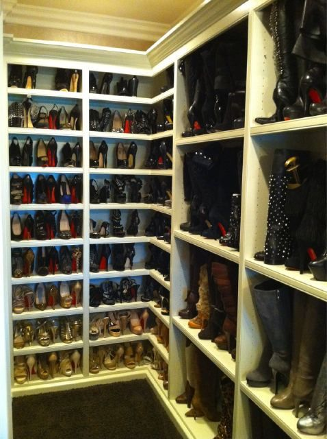 Khloe Kardashian's shoe closet. I think we must have been sisters in another life.