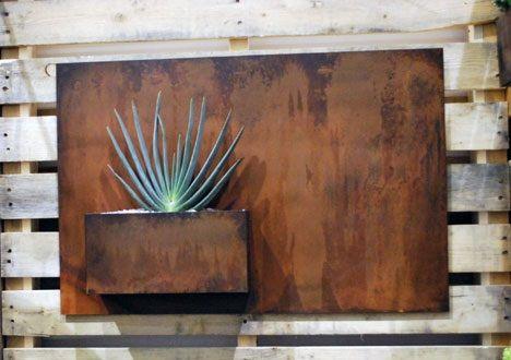superline corten steel trend wall planter supplied by koberg