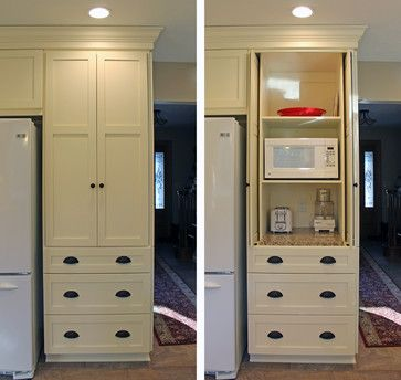 ``` clever ways to hide a microwave ```  Triplet Kitchen Renovation - traditional - Kitchen - Cleveland - Taylor Design Studio