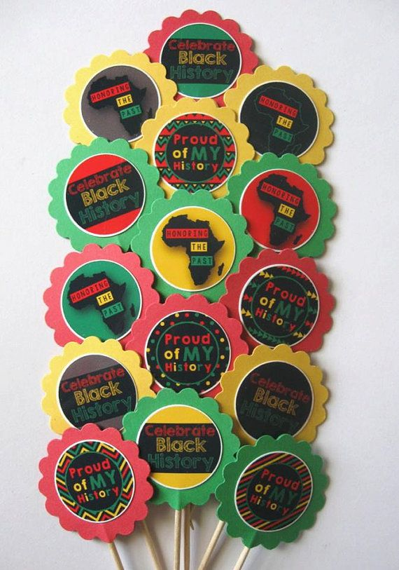 Black History Month Cupcake Toppers Party Picks 15pc Set