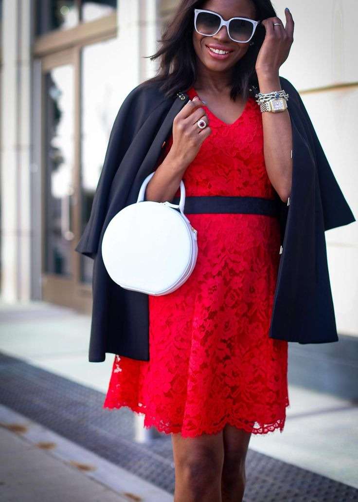 Red is undeniably the color of Christmas, hence this red lace dress makes for the perfect Christmas dress. I paired the dress with a black cape and white bag.