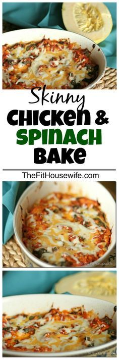 Skinny Chicken and Spinach Bake. A low-carb meal that is full of flavour and healthy veggies. 21 Day Fix: 1 green, 1/2 red, 1/2 purple, 1 blue