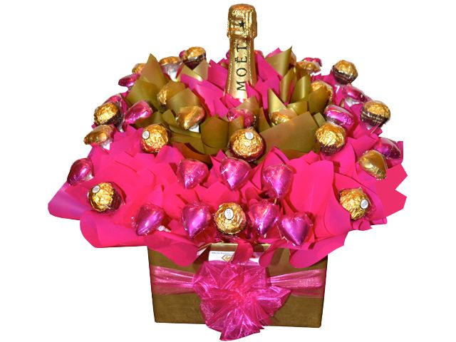 Rose Gold Chocolate and Bubbles Bouquet