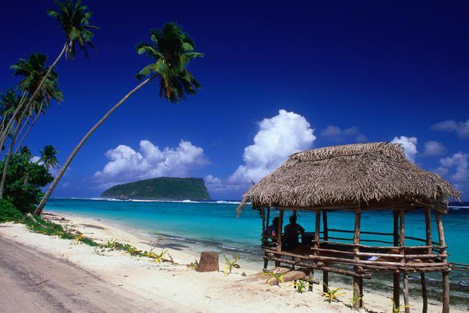 Lalomanu Beach on the eastern end of Upolo Island, Samoa.
