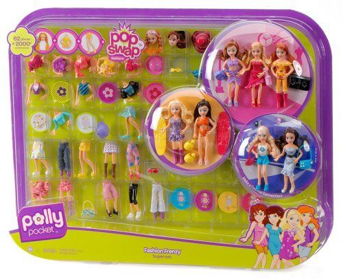 Polly Pocket Fashion Frenzy Superset - 62 Piece Set by Mattel. $79.99. Pop 'n Swap is so easy. 62 pieces to create over 2000 combinations. There's nothing like it for fashion play. Fun with fresh new looks and fashions. Styles you can change in less than a blink. Girls will have so much fun changing outfits with Polly and all her pals! The most fun with fresh new looks and fashions! Fashion Frenzy: Styles you can change in less than a blink. Don't like that blue skirt? Just tra...