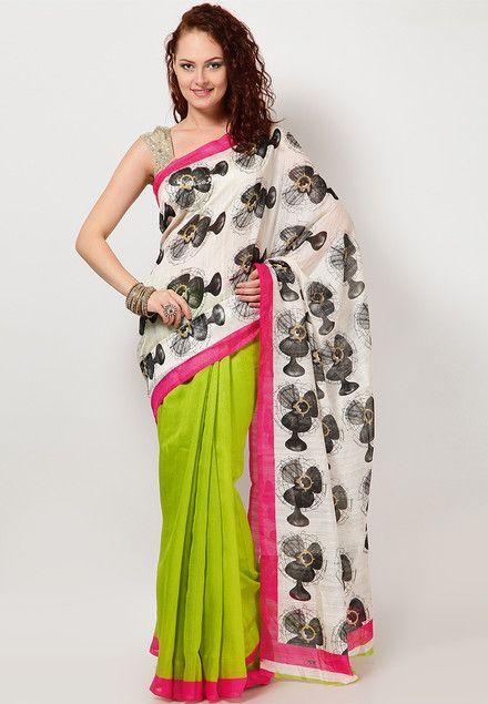 Printed Cotton Blend White Saree