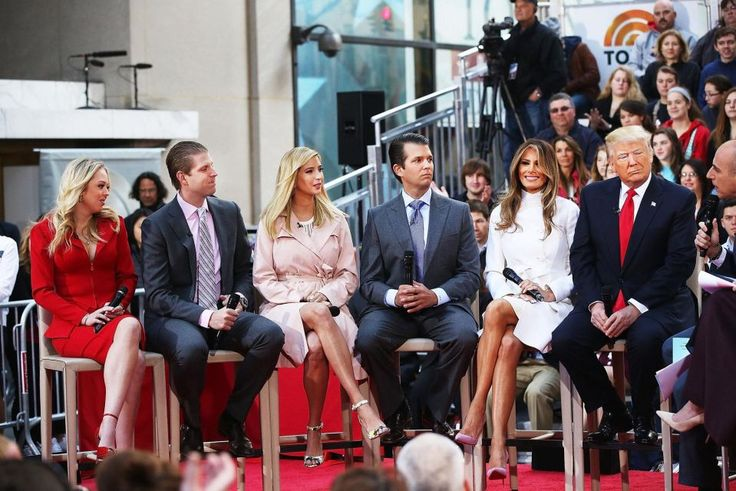 "Republican presidential candidate Donald Trump appears at an NBC Town Hall at the ""Today"" show in Manhattan on April 21, 2016. From left are daughter Tiffany, son Eric, daughter Ivanka, wife Melania and son Donald Jr."