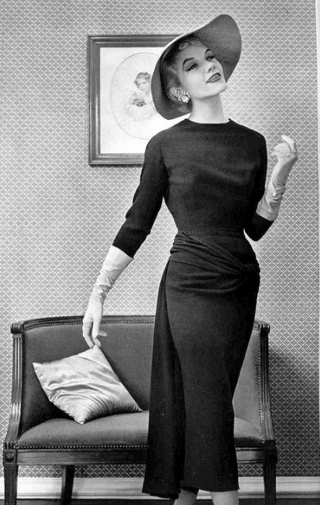 Ciao Bellísima - Vintage Glam; Model wearing Pierre Balmain;Photo by Philippe Pottier, 1955