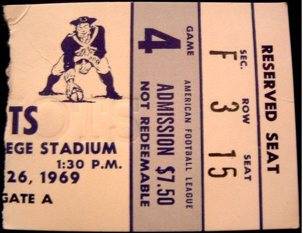 1969 AFL Chargers at Patriots ticket stub