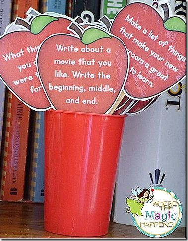 August writing prompts -- cute idea to put seasonal prompts in sticks