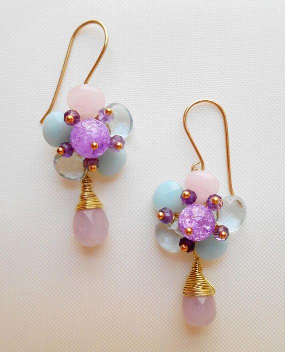 Iris flower gemstone dangle earrings quartz rock crystal jade