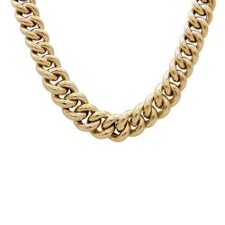 9ct Gold Elongated Curb Link Necklace