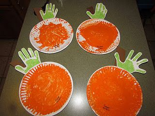 use handprint for stem of pumpkin craft