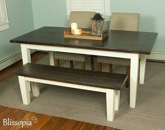 Beautiful hand crafted wood farmhouse dining table constructed with traditional mortise-and-tenon joinery ensuring generations of enjoyment. Built with a planked top and eased edges, hand hewn for a weathered surface resembling the look of salvaged lumber. -Made of solid Douglas fir that we