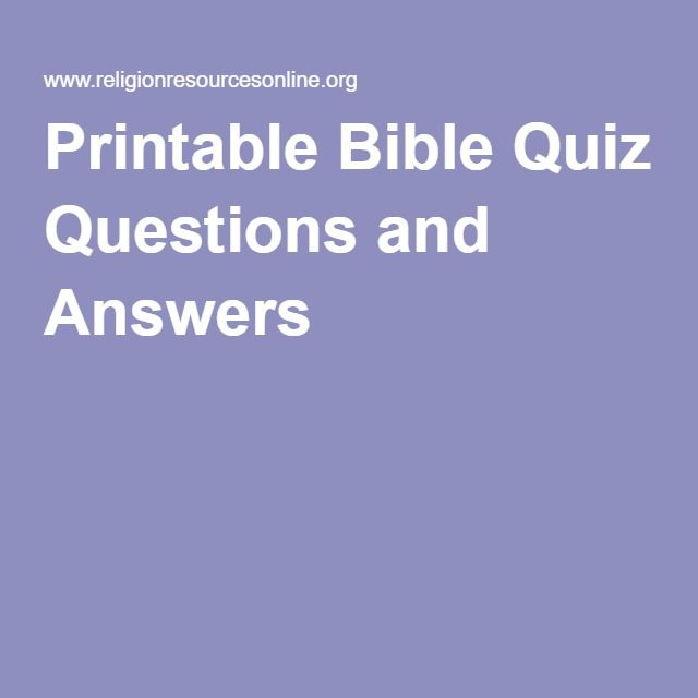 Printable Bible Quiz Questions and Answers