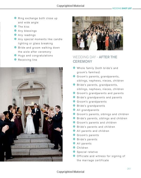 wedding shot list- ceremony and after ceremony