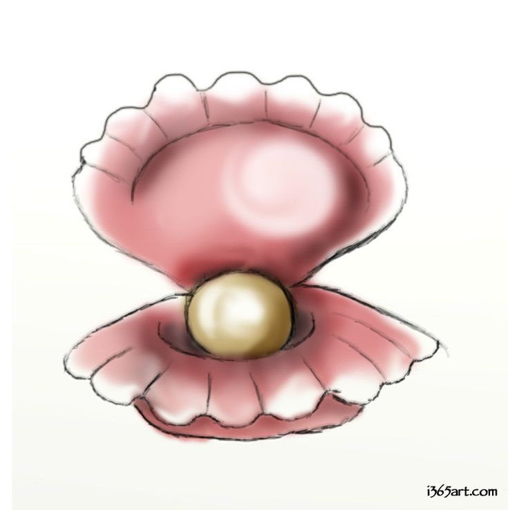 Clam with a giant pearl in it | Clipart and Things ...