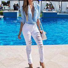 Calças de Brim das Mulheres da moda Calças Sexy Delgado Fêmea Rasgado Buracos calças de Brim Das Mulheres Leggings Calças alishoppbrasil