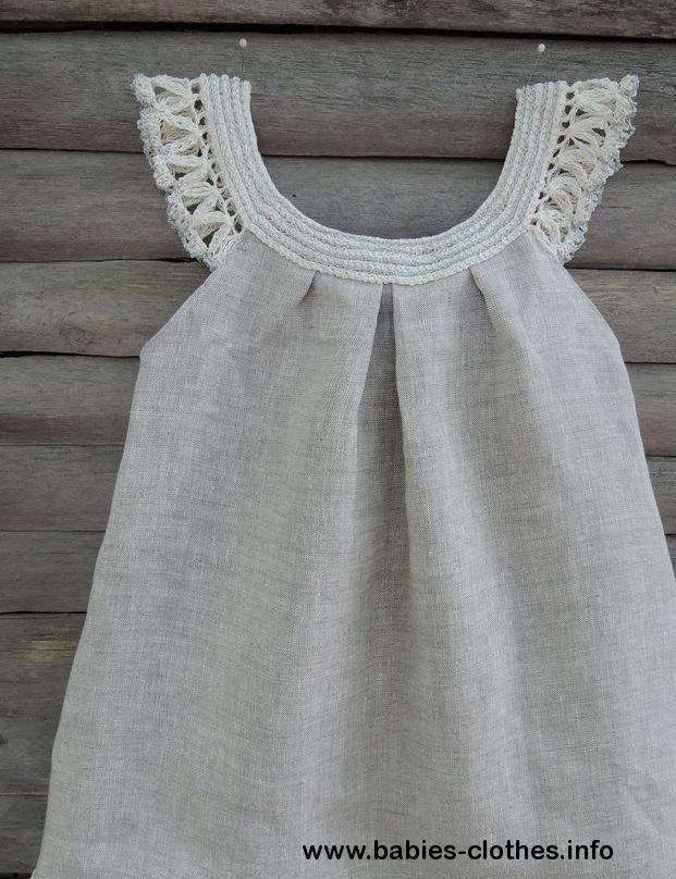 handmade organic dress crochet baby dress flowergirl organic dress linen organic…