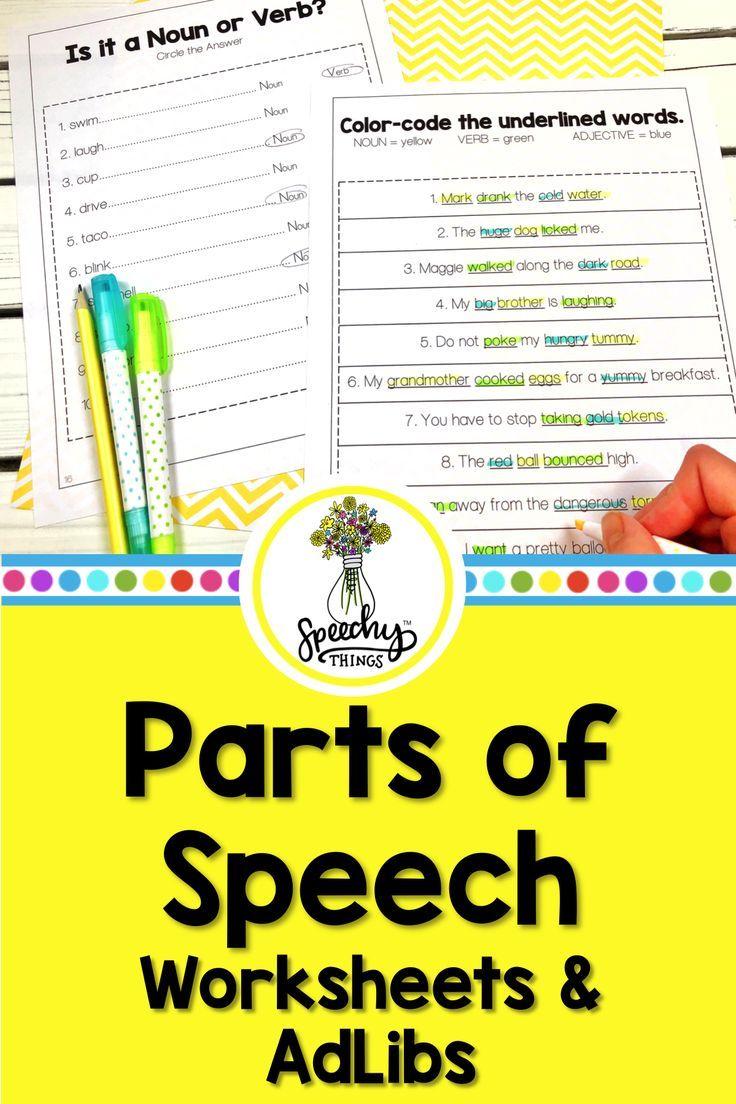 Parts Of Speech Worksheets Adlibs Part Of Speech Grammar Language Therapy Activities Parts Of Speech Worksheets [ 1104 x 736 Pixel ]
