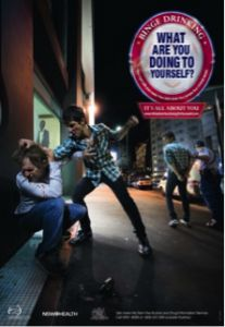 Posters tackle binge drinking -  The 'What are you doing to yourself' posters, developed by NSW Health, tackle binge drinking and anti-social behaviour among teenagers and young adults. The negative consequences of risky drinking are illustrated in a range of settings. The  posters are available to order at no cost at http://yourroom.com.au/product/what-are-you-doing-to-yourself-posters/