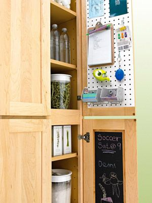 Create a Message Center Set up a streamlined household communications center. Conceal a message board or calendar on the back of a closet or cabinet door. Use baskets or cubbyholes, one for each family member, in a closet or cabinet to sort mail, and stash pens and notepaper nearby. Create this communication center.