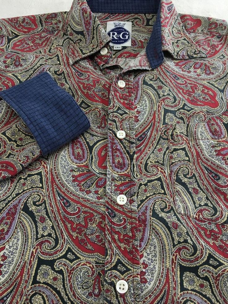 MENS LARGE R & G ROBERT GRAHAM DRESS SHIRT PAISLEY CASUAL CONTRAST FLIP CUFF #RobertGraham