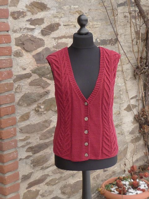 """Ravelry: Project Gallery for 123-10 Waistcoat with cables in """"Nepal"""" pattern by DROPS design"""