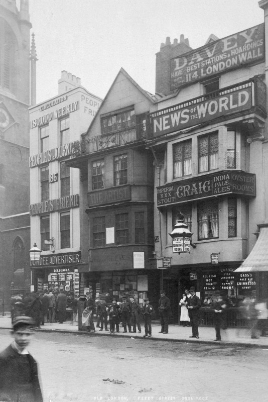 View of shop fronts along Fleet Street, London...Now a historic photo....
