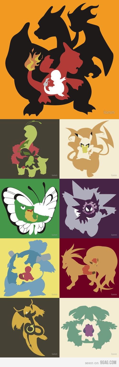 Evolution of pokemon! The charmander/charmeleon/charizard is the best.