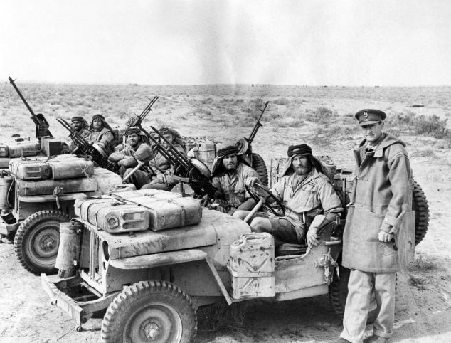 SAS founder Sir David Stirling with a patrol in North Africa during the second…