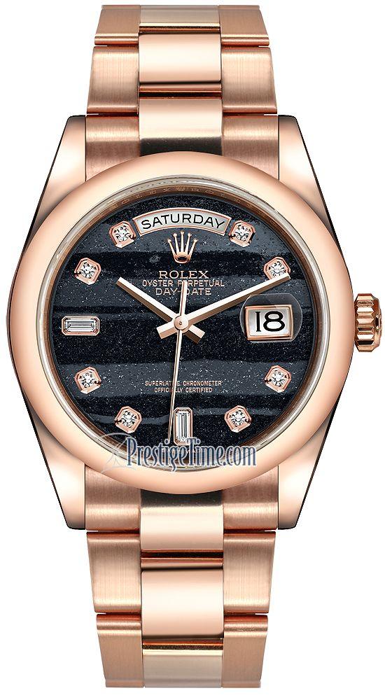 Rolex Day-Date 36mm Everose Gold Domed Bezel 118205 Ferrite Diamond Oyster