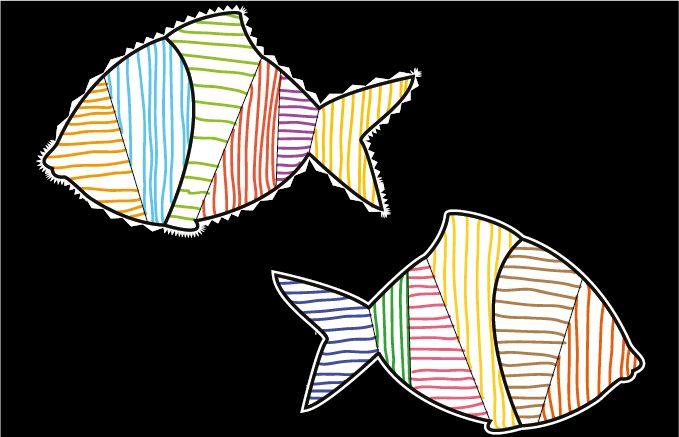 Atelier Graphisme GS Grande Section Les traits - Décoration poissons abstraits, tracer les lignes verticales et horizontales en variant les couleurs.