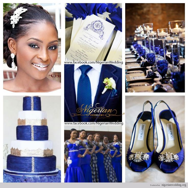 nigerian wedding cobalt blue, white and silver wedding ...