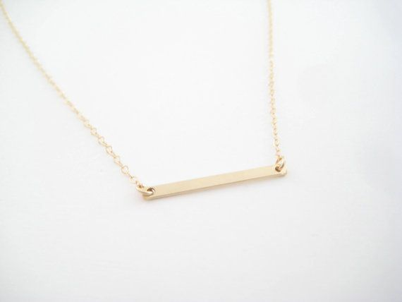 Small Sideways Bar Necklace    • 14k gold filled chain or sterling silver  • 1.1 inch wide gold filled or sterling silver bar