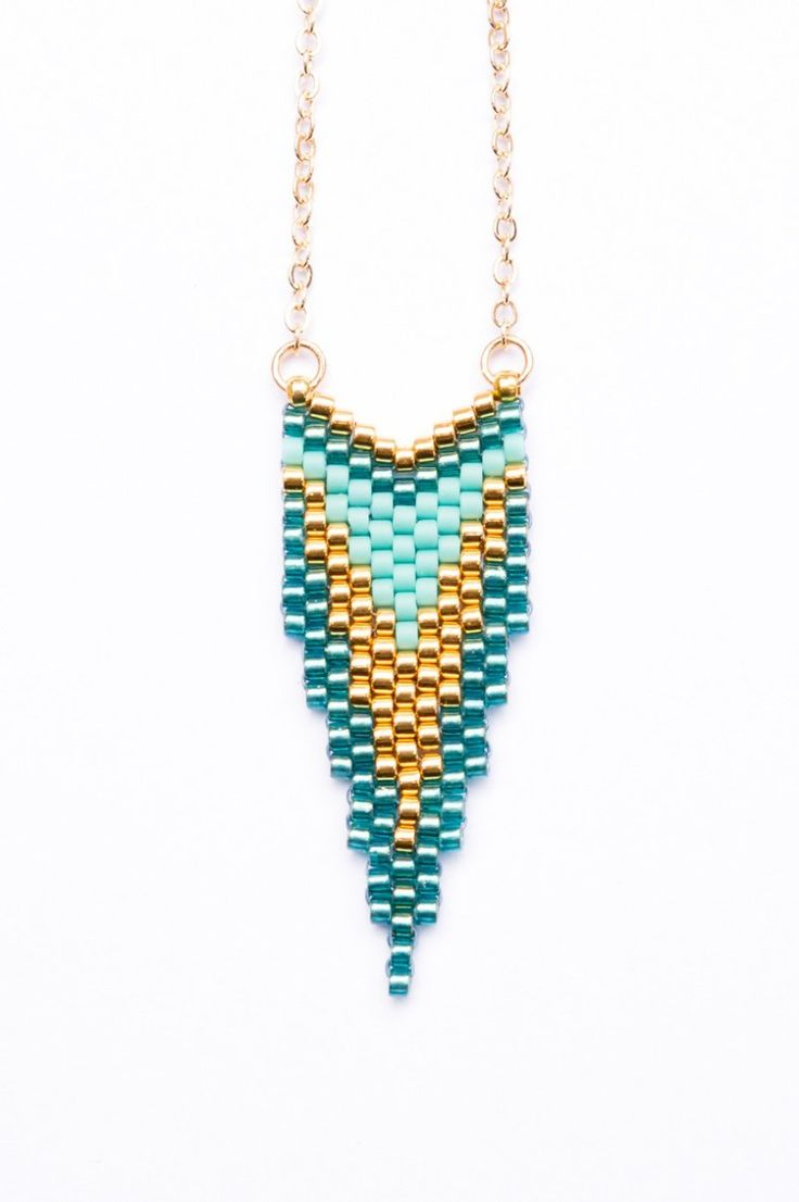Sautoir CLEO Turquoise et Or