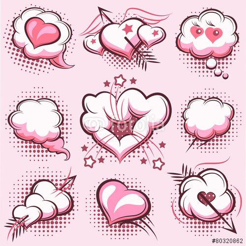 100 Wektor: Comic elements for Valentines Day with explosions, hearts and