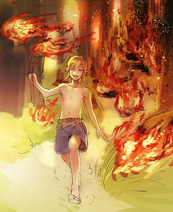 XD I love how happy he is, not knowing that he is lighting everything on fire.
