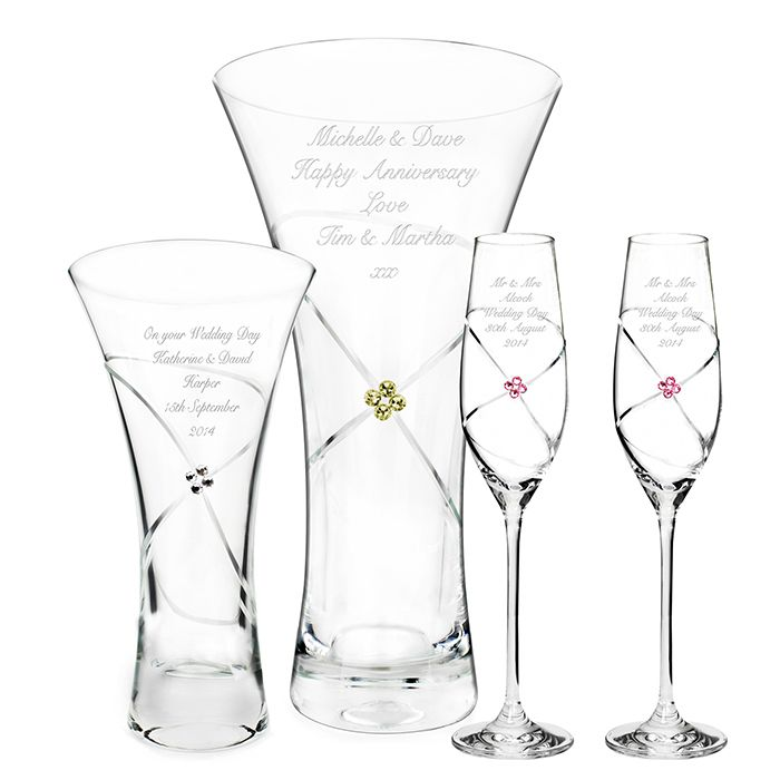 Vases and Glassware with Infinity pattern and Swarovski gold Crystals.  £45.95 Personalised with a message over 4 lines.