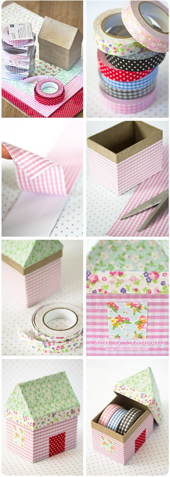 Fabric House Boxes washi tape storage by