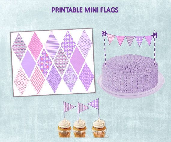 Sofia the First Mini Cake Banner, INSTANT DOWNLOAD  Printable, DIY Sofia the First Birthday Party Supplies and Decor on Etsy, $2.95