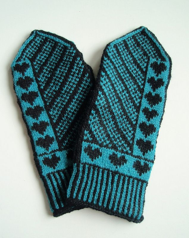 Turquoise heart mittens