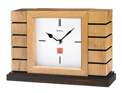 "Frank Lloyd Wright Usonion Mantel Clock.  Based on the ""board and batten"" walls utilized in the Usonian homes, 1936-1939.  Includes engraving plate."