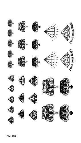 HC1165 Falso A Prueba de agua Pegatinas Tatuaje Negro Tatuaje Rápido Pequeños Diamantes y Coronas Tatuajes Temporales de Transferencia de Agua Etiqueta