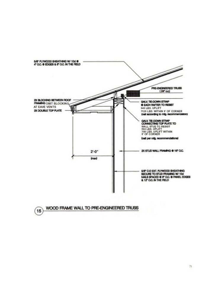 Wood frame to engineered truss building diagrams for Pre engineered trusses