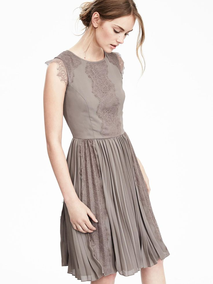 Oyster Pleated Lace Dress Banana Republic Sept 16
