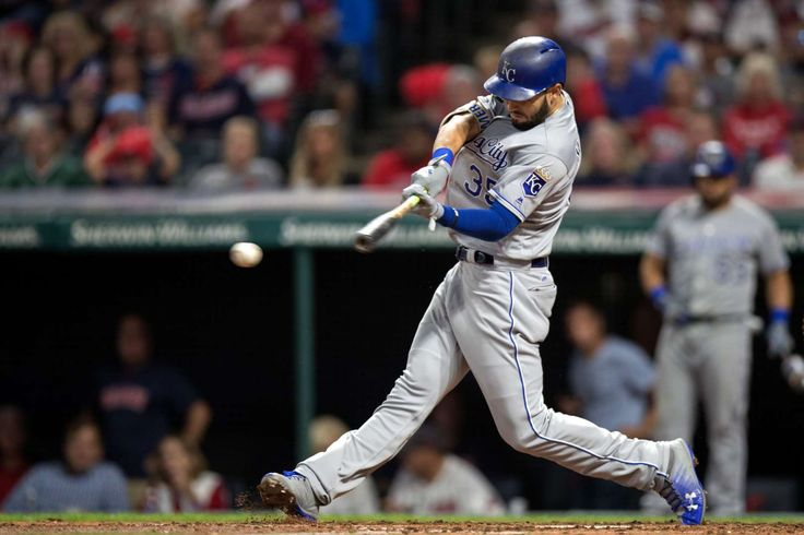 HOMSER'S HOMER:   The Royals' Eric Hosmer singles to drive in a run against the Indians on Sept. 15, in Cleveland, OH. The Royals won 4-3.